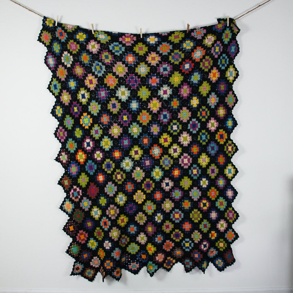 60s Hand Knit Afghan Throw / Multi Color Granny Square Pattern ...
