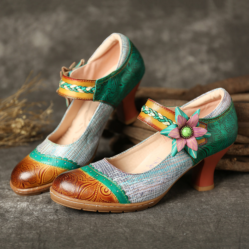 a2d9829d2a47 SOCOFY Bohemia Pattern Splicing Weave Floral Hook Loop Genuine Leather Pumps