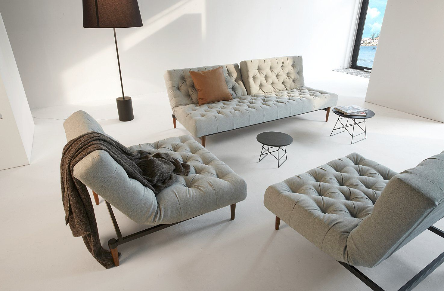 Divano Letto E Poltrona.Divano Letto E Poltrona Pouf Oldschool Tessuto Soft Pacific Pearl