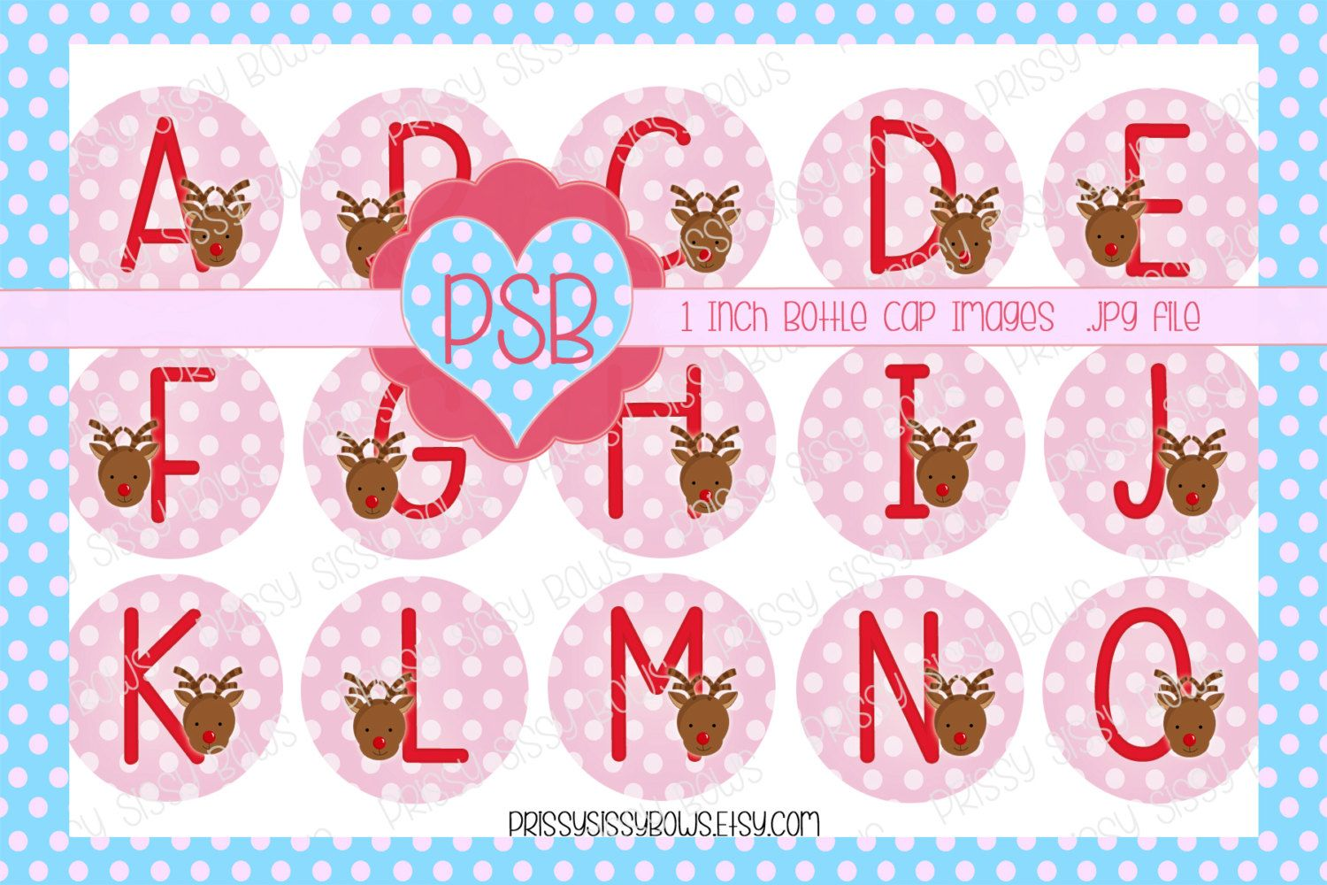 Christmas Reindeer Pink Alphabet 1 Inch Bottle Cap Images - Digital Download - pinned by pin4etsy.com