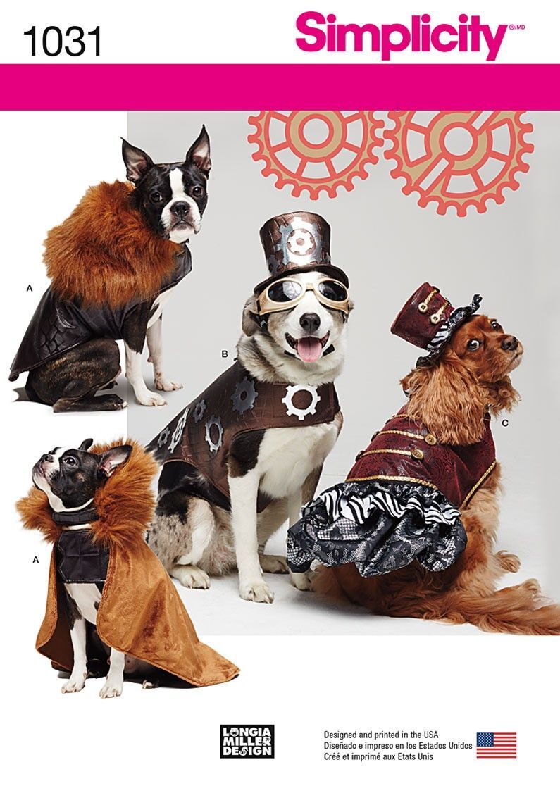 Simplicity 1031 Steampunk Dog Costumes In 3 Sizes
