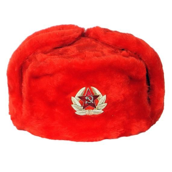 4e042832c56 Ushanka Women Winter Red Fur Hat Authentic Russian USSR Military Army  Soldier Soviet Red Star Badge
