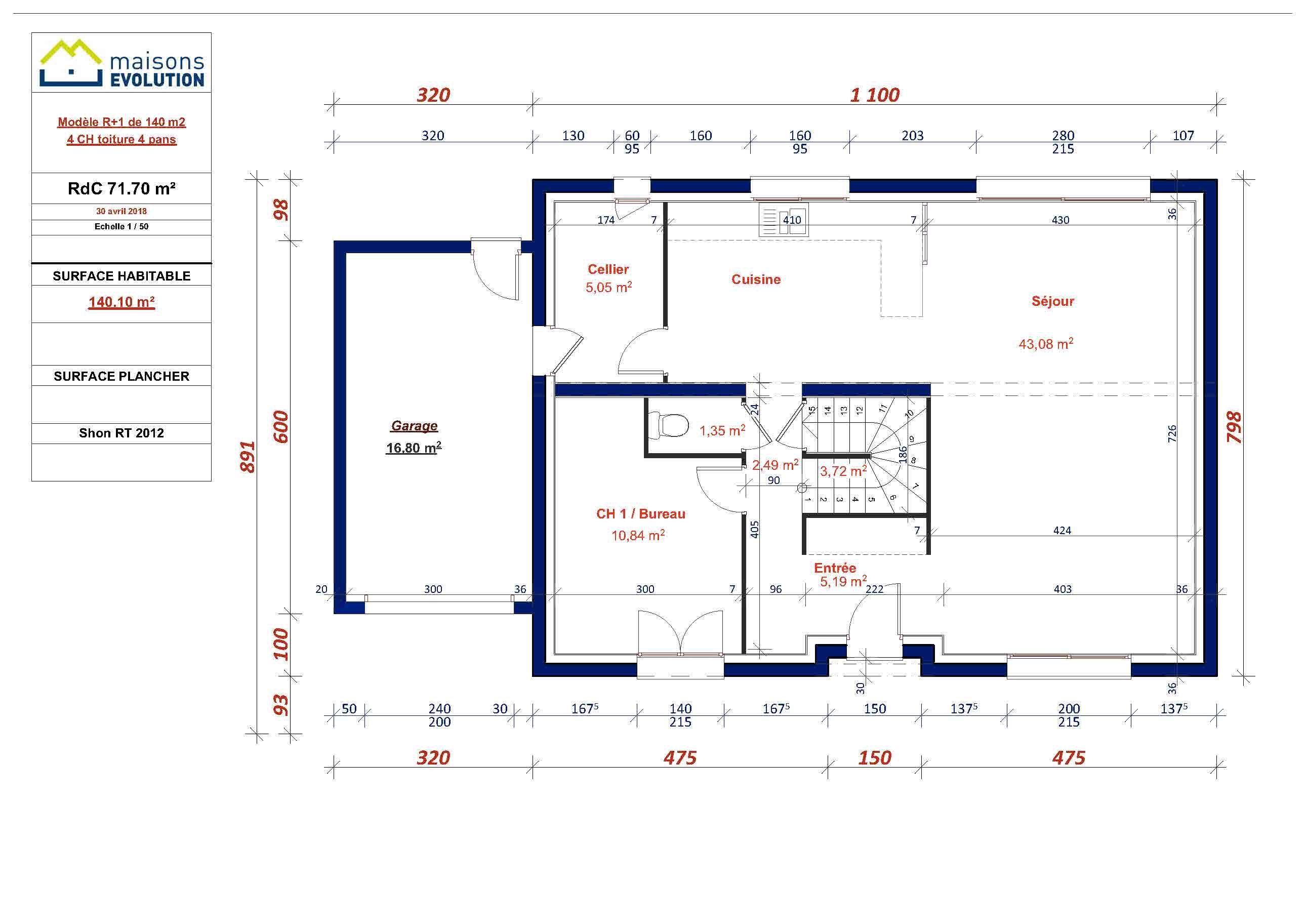 Plan du rez-de-chaussée du modèle Rivoli Il vous offre une entrée, une grande piè ...