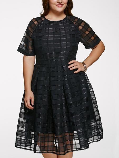 Chic Round Neck Plus Size See-Through Dress For Women – Boutique Bastone