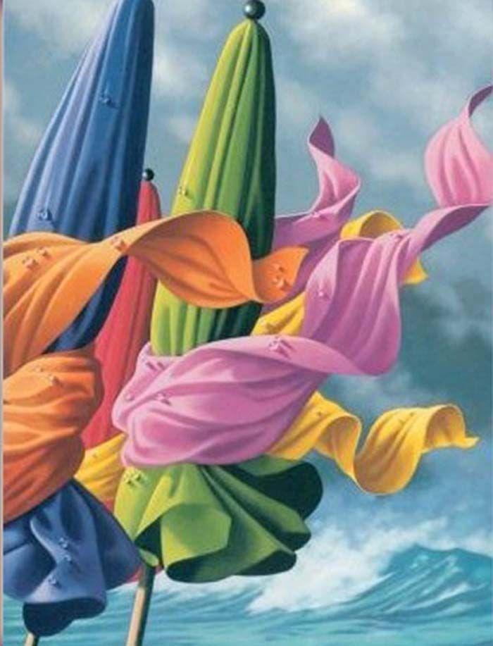 Le Vent Illustration Contemporaine Art De Parapluie Peintre