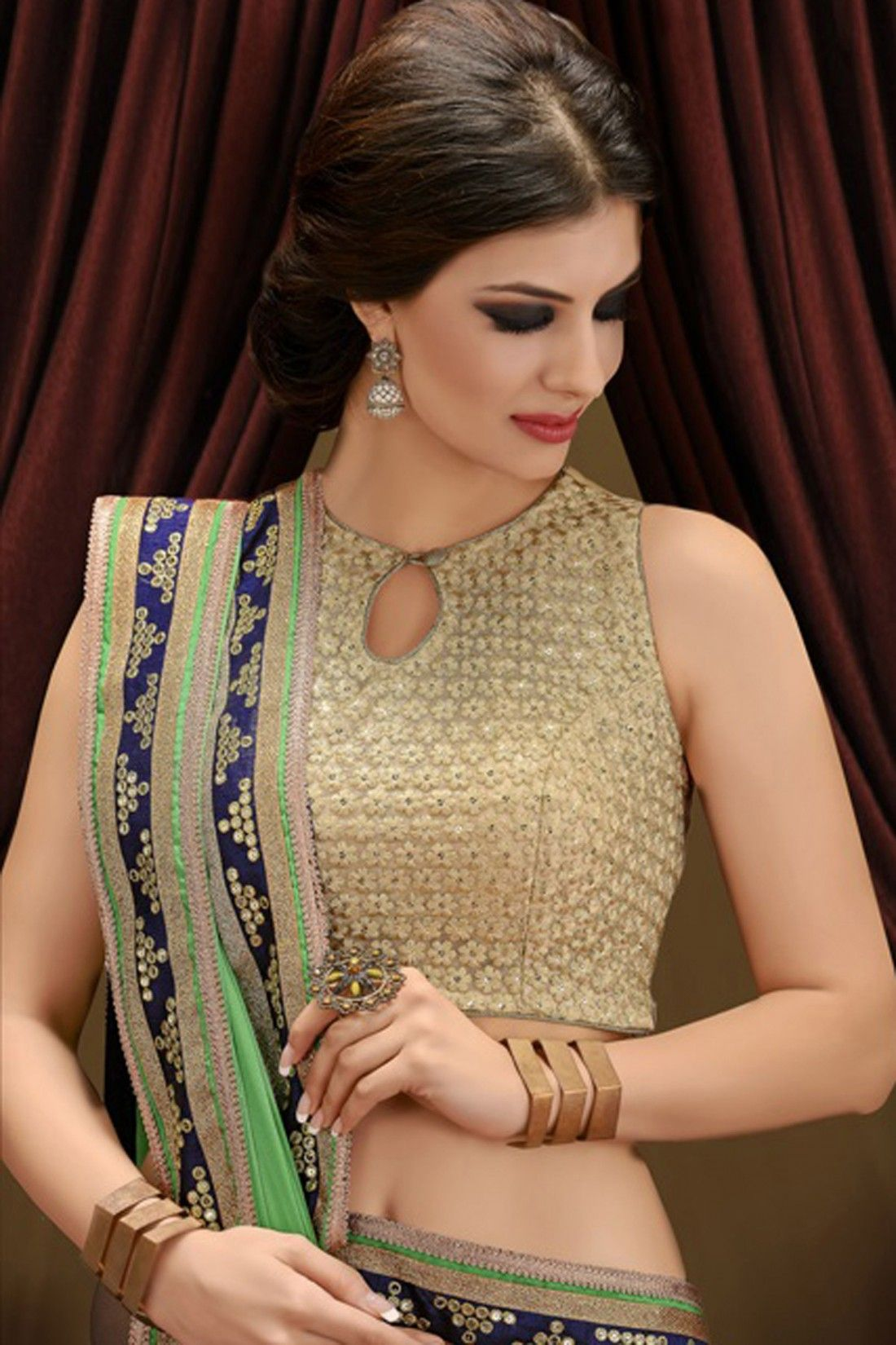 Net saree images green and cream faux georgette and net saree  blouse  pinterest