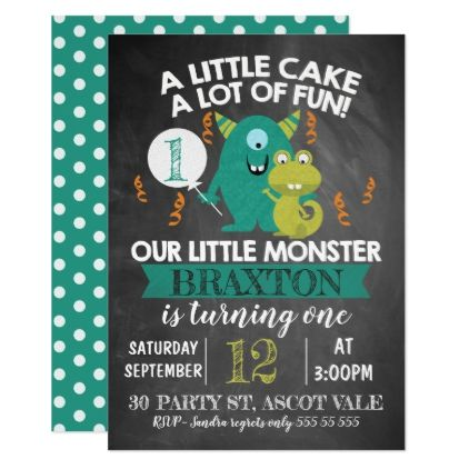 Chalkboard Monsters St Birthday Invitation  Birthdays