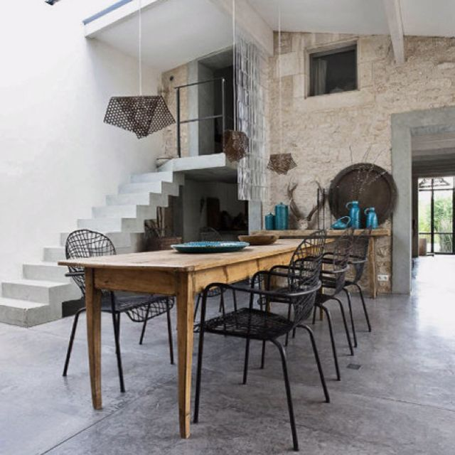 Antique wood table, modern chairs | Interior, Home and ...
