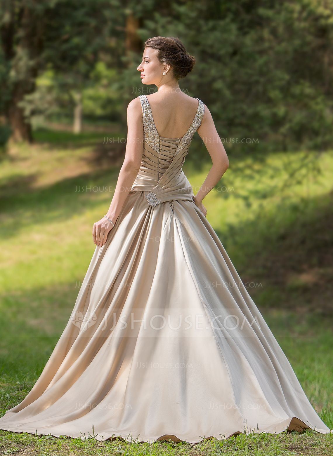 Outdoor summer wedding dresses  BallGown Sweetheart Court Train Ruffle Beading Appliques Lace