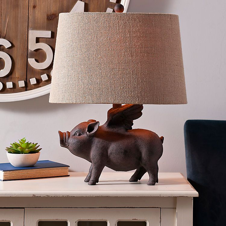 Antique Flying Pig Table Lamp Kirklands