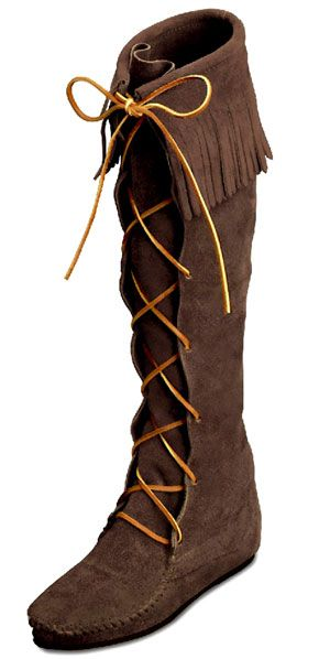 Minnetonka Moccasins 1428 - Women's Dusty Brown Suede Knee Hi Front Lace  Hardsole Fringe Boot - Knee High Hard Sole Boots