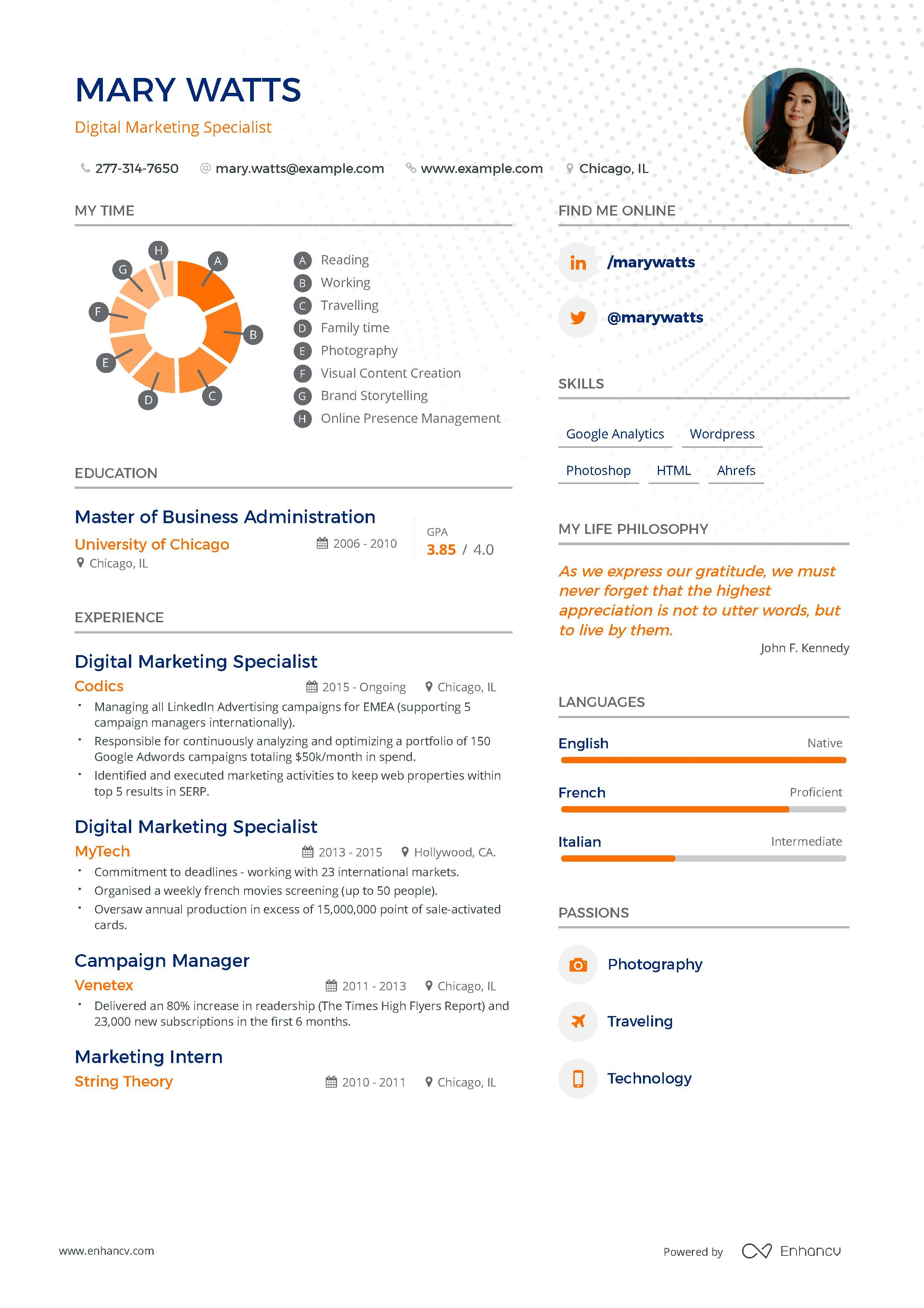 Digital Marketing Resume Example And Guide For 2019 Marketing Resume Resume Examples Digital Marketing