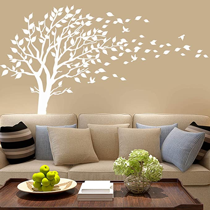Amazon Com Large Tree Blowing In The Wind Tree Wall Decals Wall Sticker Vinyl Art Kids Rooms T In 2020 Nursery Wall Stickers Wall Stickers Living Room Tree Wall Decal