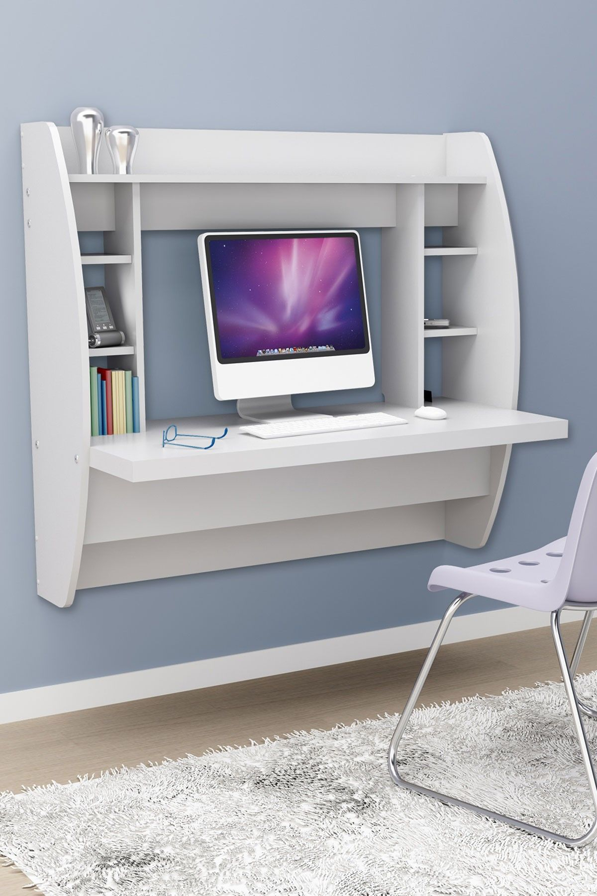 Prepac Small Space Innovations Floating Desk With Storage   White