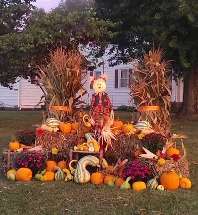 Fodder shock, autumn yard decorations