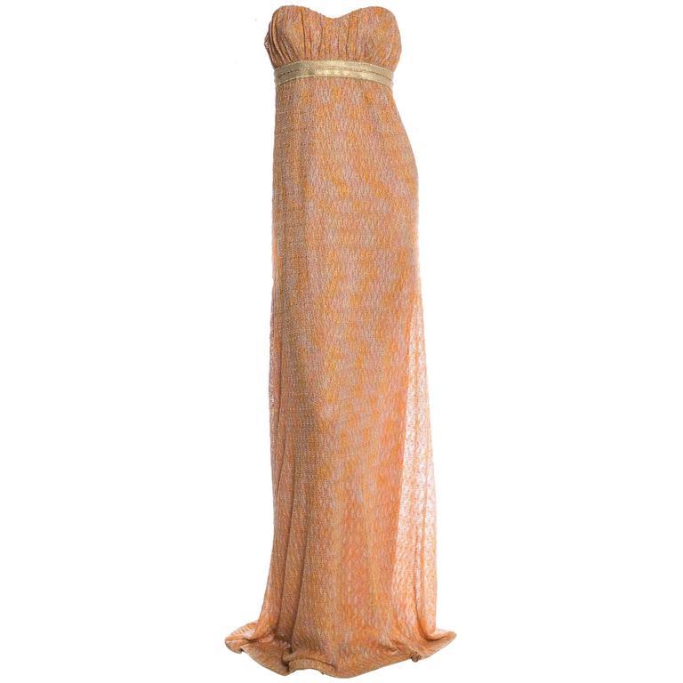Missoni Gold Metallic Corset Lurex Crochet Knit Gown | Missoni ...
