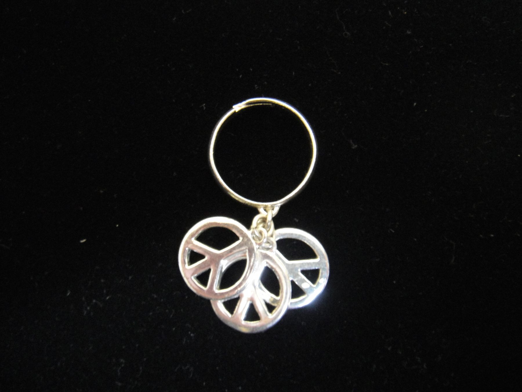 Silver adjustable peace sign ring