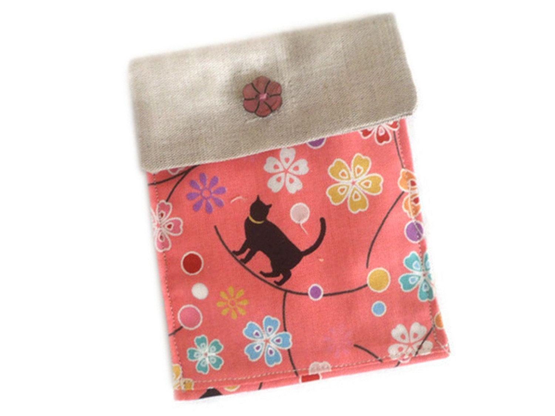 Génial Pic Emballage Cadeau chat Suggestions,Petite pochette chats noirs fleurs fond rose ...