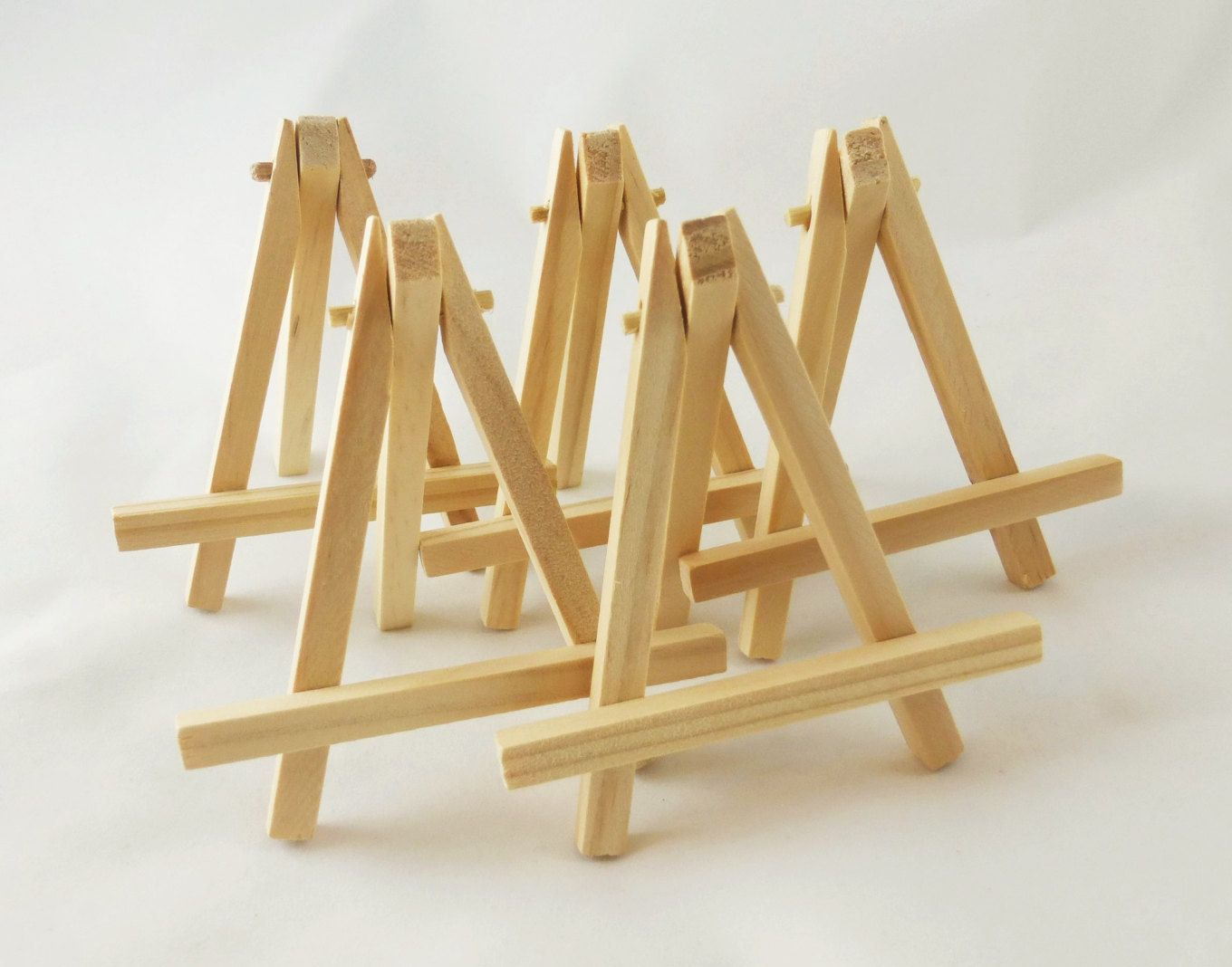 Small Wood Easels 5 Natural Tabletop Miniature Art Display Table Signs Place Cards By
