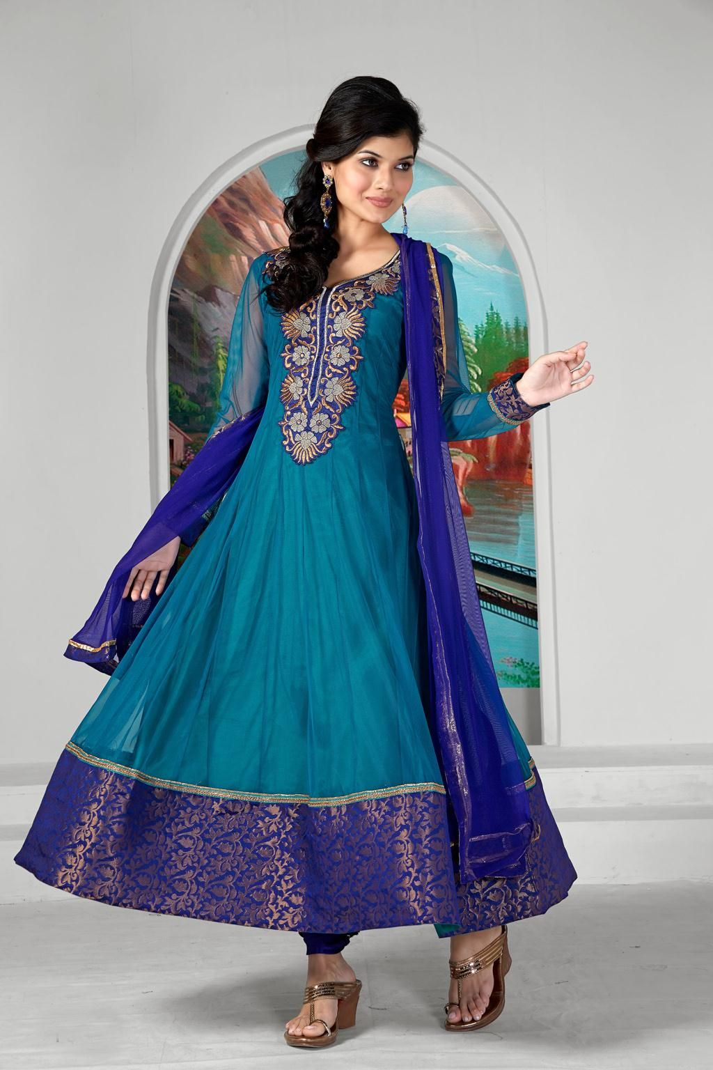 Blue Embroidery Long anarkali Suit 30446 | Punjabi wedding ...
