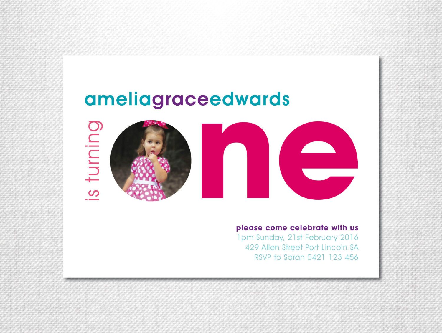 First birthday invitation first birthday girl one photo first birthday invitation first birthday girl one photo invitations modern style filmwisefo Image collections
