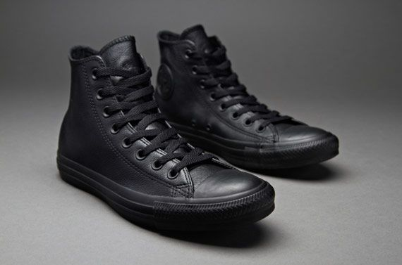 Converse Chuck Taylor All Star Leather Hi - Black Monochrome ... 5b951d51ee84