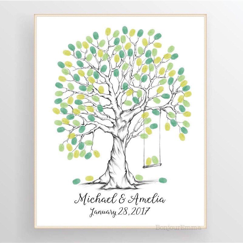 Unique And Beautiful Fingerprint Tree With Swing Great Idea As An Wedding Gue Wedding Fingerprint Tree Wedding Guest Book Alternatives Guest Book Alternatives