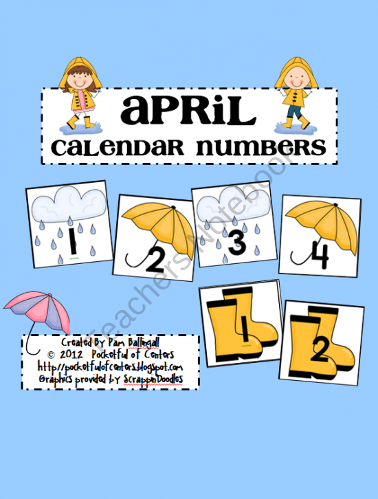 April Calendar Numbers For Preschool : April calendar numbers product from pocketful of centers