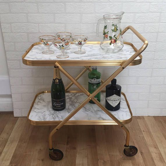 Upcycled Vintage 1960 S Retro Gold Marble Trays 2 Tier Folding Tea Drinks Trolley Bar Cart Drinks Trolley Marble Tray Bar Cart
