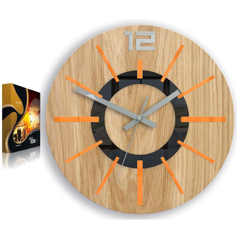 Large Wall Clock Oak 13 In Orange Nordic Wood Clock Geometric Wall Art Modernclock In 2020 With Images