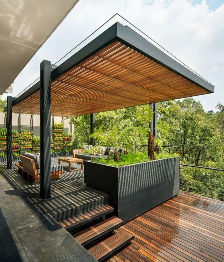 Wood pergola with roof wc with wash basin