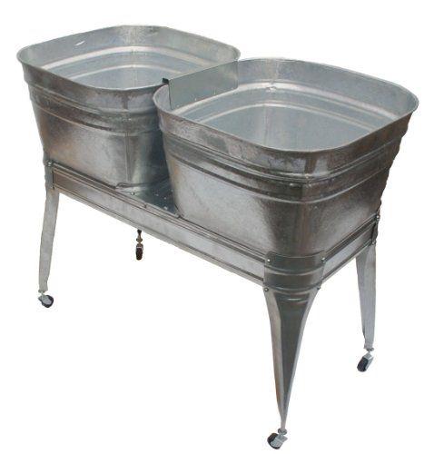 Twin Wash Tub With Stand And Drain Dover Http Www Amazon Com Dp B00hdqtuog Ref Cm Sw R Pi Dp Dtnstb1cwb6a0jxf Galvanized Wash Tub Metal Wash Tub Wash Tubs