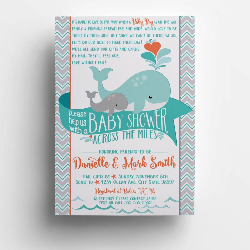 Long Distance Baby Shower Invitation Printable Diy Whale