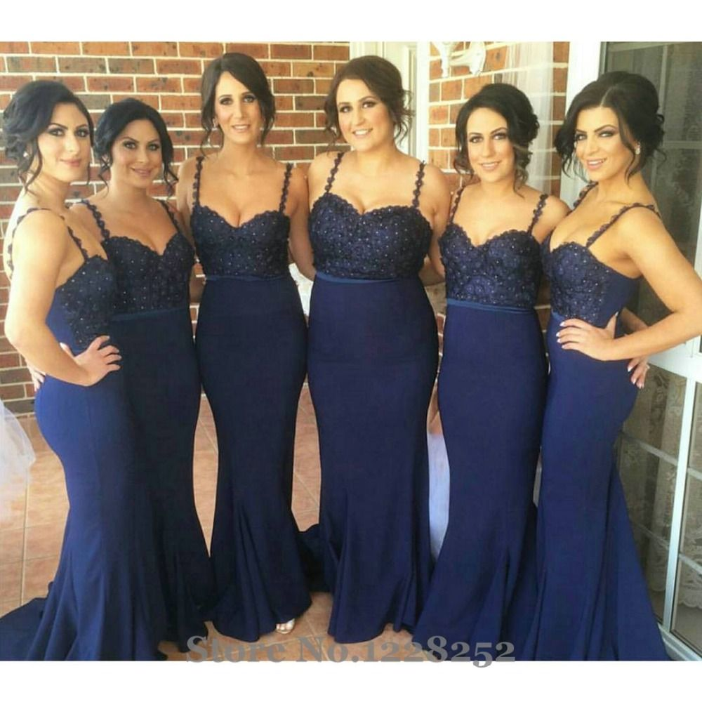 Long navy dress for wedding  Click to Buy ucuc Sexy Navy Blue Bridesmaid Dress with Spaghetti