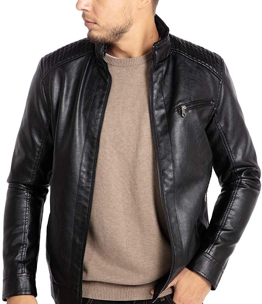 Wulful Men S Stand Collar Leather Jacket Motorcycle Lightweight Faux Leather Outwear At Amazon Men S Collar Leather Jacket Leather Jacket Men S Leather Jacket [ 1000 x 864 Pixel ]
