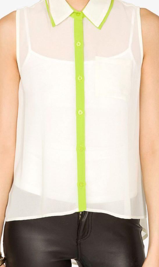 Sleeveless lapel blouse WCS9451 Green