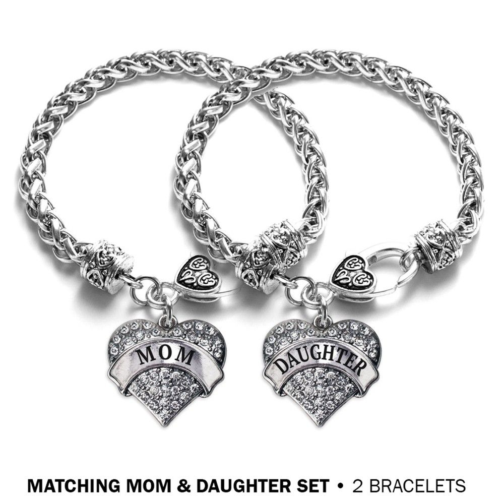 Matching Mom And Daughter Pave Heart Bracelet Set