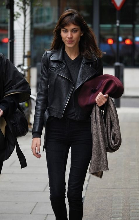 Alexa Chung in a leather jacket #style #fashion #celebrity