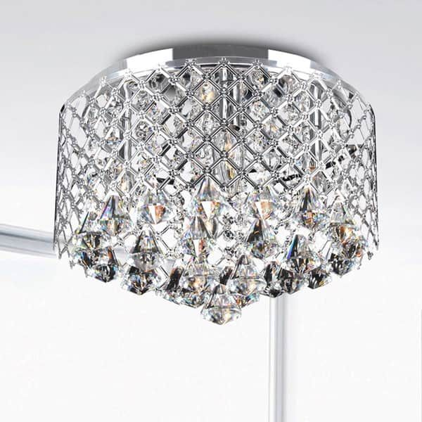 Ceiling Lights For Less Silver Orchid Taylor Chrome Crystal Flush Mount Chandelier