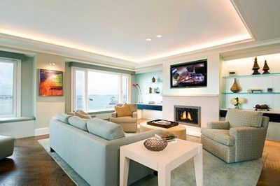 Urban Living Room  Uplighting In The Tray Ceiling And Backlit Built In  Bookcases | Leslie Fine Interiors
