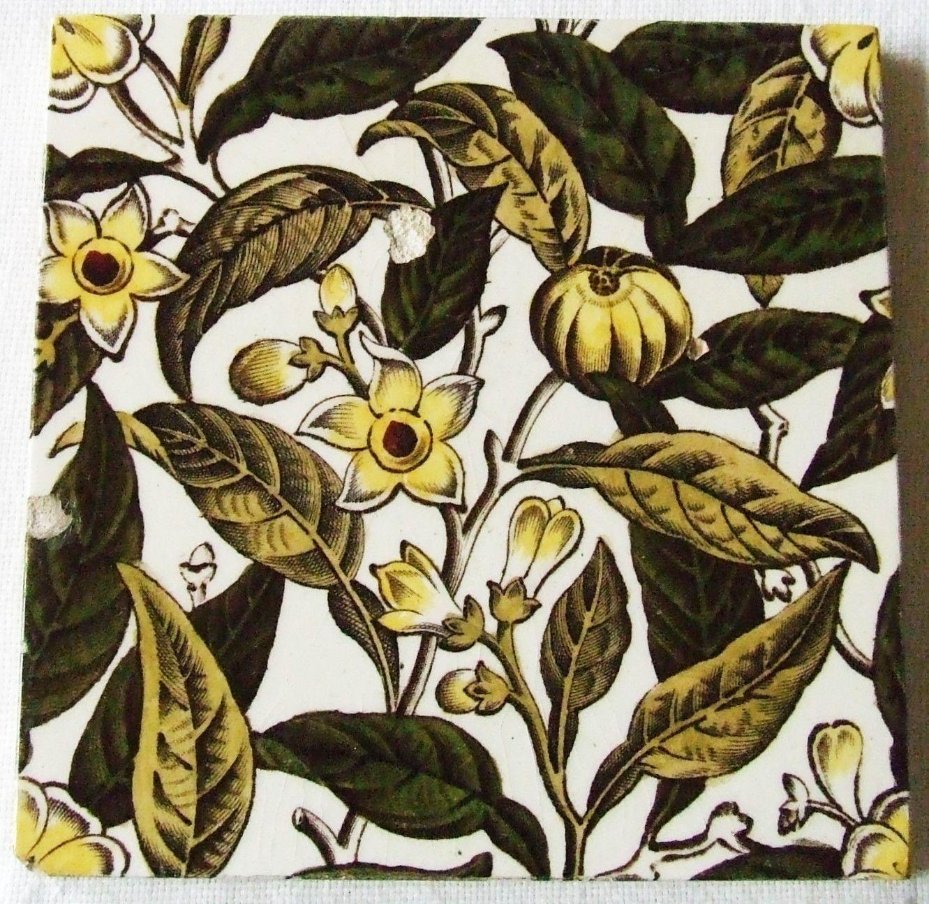 Antique English Tranfer Tile Botanical Sherwin Cotton Aesthetic Arts & Crafts