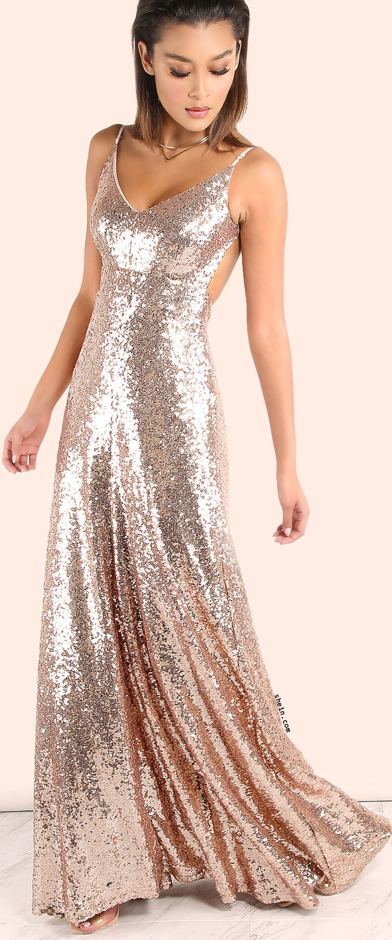 Backless sequin cami maxi dress rose gold dresses and gowns