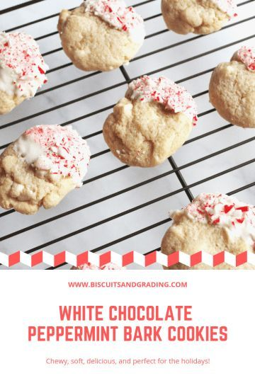 White Chocolate Peppermint Bark Cookies White Chocolate Peppermint Bark Cookies  filled with white chocolate and peppermint chunks then dipped in white chocolate and crus...