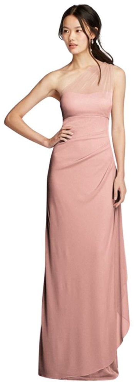David\'s Bridal Women\'s Long Mesh One Shoulder Illusion Dress ...