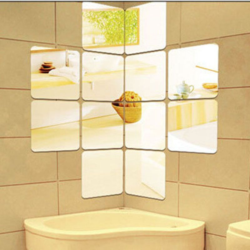 6 Pieces / Pack Silver Gold Square Mirror Wall Stickers 3D Plastic ...