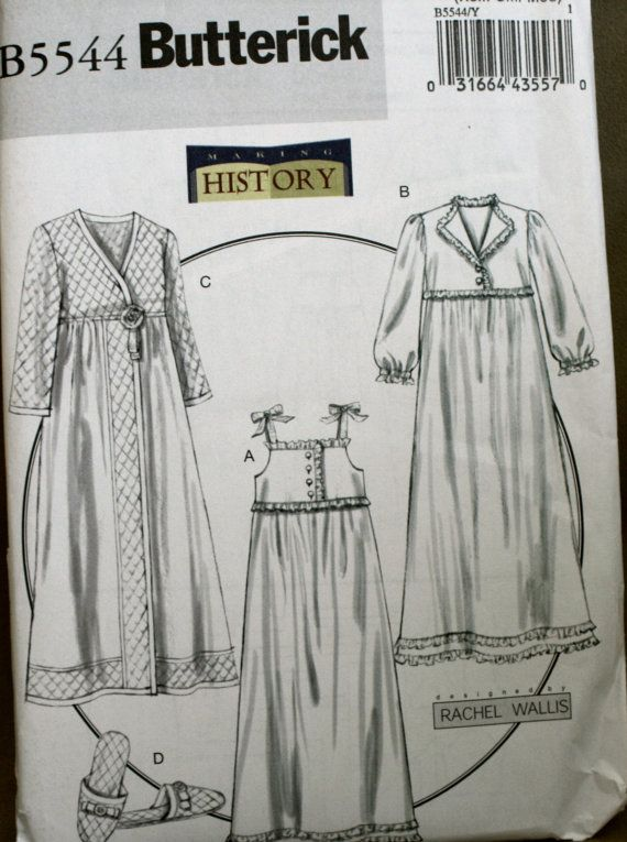 Butterick B5544 History Robe Nightgown Slippers by misty1718, $8.00 ...
