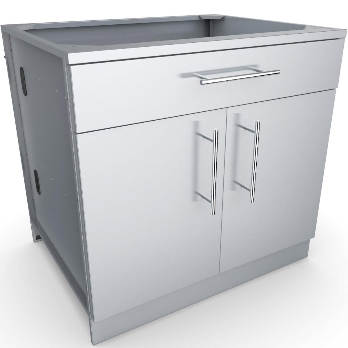 Sunstone 36 Inch Outdoor Kitchen Double Door And Drawer Island Cabinet Sbc36cdd Bbqguys Outdoor Kitchen Cabinets Base Cabinets Outdoor Kitchen Island