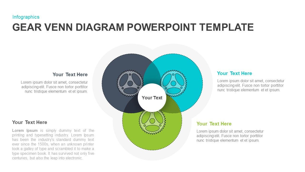 Gear Venn Diagram Powerpoint Template In 2020 Venn Diagram