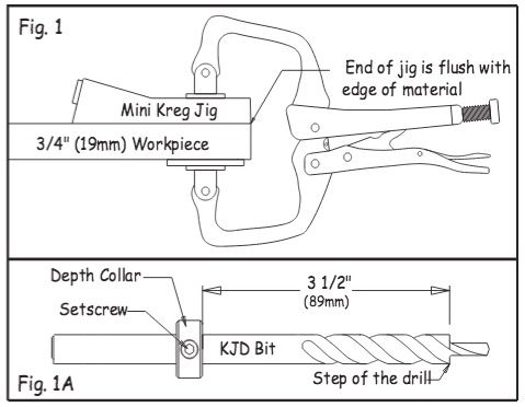 "Kreg® Each jig position has its recommended drilling depth. To drill in 3/4"" material, set the Depth Collar 3-1/2"" from the Step of the drill bit using a rule. This will place the tip of the bit approximately 1/8"" from the edge of the work piece. Adjust the collar to 3-5/16"" from the step of the bit for 1/2"" material and 4-1/4"" from the step of the bit for 1-1/2"" material. Tighten the setscrew with the Allen wrench."