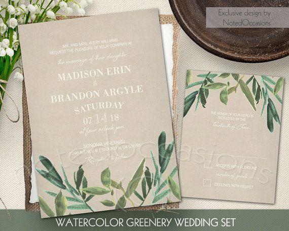 Greenery Wedding Invitation Set Rustic Watercolor Wedding